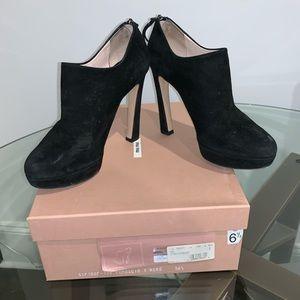 Miu Miu Black Suede Platform Heel Booties